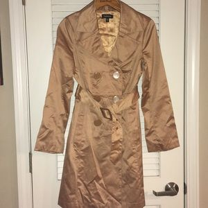 Bebe satin camel double breasted trench coat